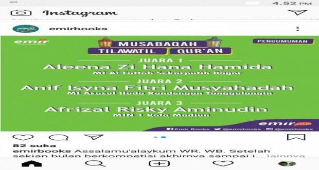 LAGI LAGI AFRIZAL HARUMKAN MADRASAH LEWAT JUARA 3 MTQ EVENT DIRGAHAYU BUKU ERLANGGAN KE 68TH