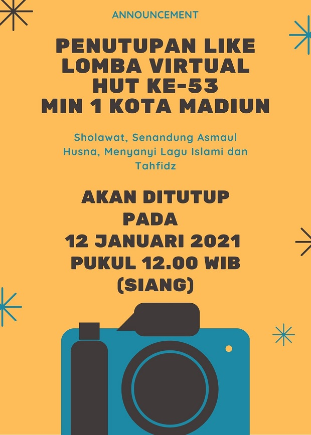 Penutupan Like Lomba Virtual HUT Ke-53 MIN 1 Kota Madiun